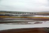Road bridge and railroad viaduct shortly past Chumaerhe station, Qinghai