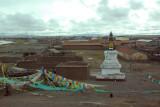 Stupa and prayer flags, Tuotuo Heyan