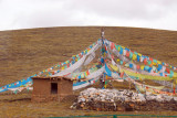 Tibetan prayer flags, south of Tuotuo Heyan