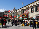 Barkhor Circuit around the Jokhang Temple is lined with tourist shops