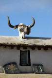 Yak skull on a house in old town