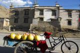 Cargo bicycle rickshaw of a fruit salesman, Tsetang