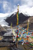 Prayer flags and stupa at Karo-la Pass
