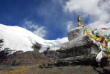 Stupa at 5039m in front of Mt. Nojin Kangtsang 7191m