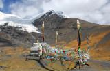 Stupa and prayer flags, Karo-la Pass