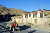 Tractor driving through Gyantse