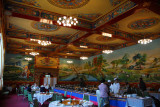 Colorful dining hall of the Gyantse Hotel at breakfast