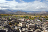 View over old town Gyantse from the ridge at the southeast corner of Pelkor Chöde Monastery