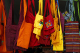 Monk bags at a shop on Buxing Jie street, Shigatse