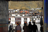 Tibetans entering Tashilhunpo Monastery through the main gate