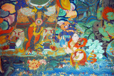 Part of a colorful mural, Kelsang Temple Complex