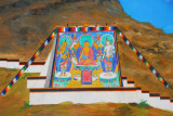 Mural showing a giant thangka painting unrolled on the festival thangka wall