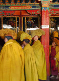 Gelugpa monks entering the assembly hall