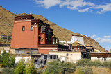Looking east across the main row of buildings of Tashilhunpo along the north edge of the monastery