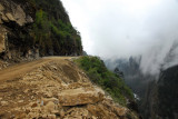 Unpaved section of the narrow Sino-Nepal Friendship Highway leading to Zhangmu