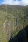 Rainbow withe the three waterfalls of Manawainui Valley