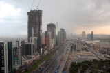 Rain storm on Sheikh Zayed Road from Crowne Plaza to Trade Centre