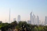Emirates Towers & Burj Dubai from Zabeel Park bridge