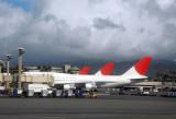 Japan Airlines (JALWays) B747-300s lined up at Honolulu (JA812J)