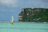 Windsurfer in front of Two Lovers Point, Tumon