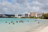 Swimmers at Tumon Beach in front of Holiday Resort