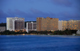Hotels of the central Tumon Strip at dusk