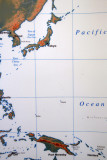 Map showing the strategic location of Guam 1500 miles south of Tokyo
