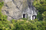 Caves cut out of the limestone cliffs at the north end of Guam