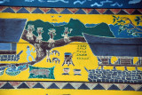 Story painted on the gable of the Bai, Koror