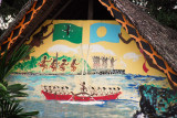 Painting on the gable of a traditional meeting house (Bai) Koror