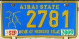 Palau License Plate - Airai State, Home of Medechii Belau