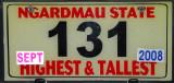 Palau License Plate - Ngardmau State Highest & Tallest