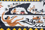 The goddess MiIadeldid giving birth to the four principle villages of Palau: Koror Aimeliik, Ngeremlengui, and Melekeok