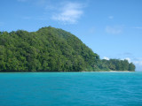 The Rock Islands of Palau are steep forest covered limestone karst islands