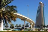 Dubai Metro track passing over Trade Center Roundabout
