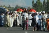 Timkat procession filling the road out of Addis Zemen