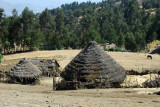 Thatched hut of farmers living inside Simien National Park