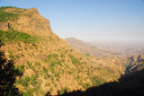 Descending along the Simien escarpment on the road to Axum
