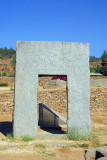 A doorway carved from a single piece of granite