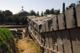 The fallen Great Stelae with the New Church of St. Mary of Zion, Axum