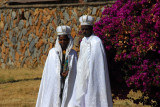 Ethiopian bride and groom posing for photos at the Axum stelae field