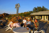 Terrace of the Yehe Hotel for drinks with tourists from the quarry