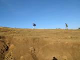 Me, hiking along the ridge with the Gelada