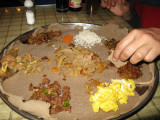 Traditional Ethiopian food for dinner at the Africa Hotel