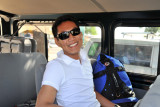 Dennis on the shuttle for the 35 minute ride across Busuanga Island to Coron Town