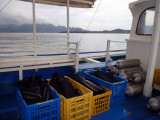Dive gear boxes back on the boat