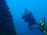 Dive guide alongside the Kogyo Maru