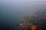 Ships moored in the Singapore Strait off Sungai Rengit (Johor) Malaysia