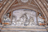 Bernini's relief Pasce Oves Maes between St. Telesphorus and St. Xystus over the main portal