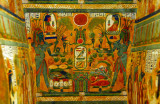Detail of the paintings inside the sarcophagus case of Djed-Mut